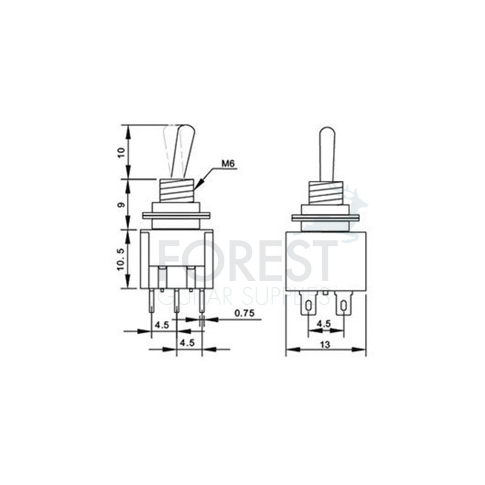dpdt mini toggle switch 2 position on