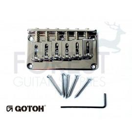 Gotoh Hardtail fixed bridge GTC101 Fender Tele or Strat ® style guitar, Brass saddle, Chrome