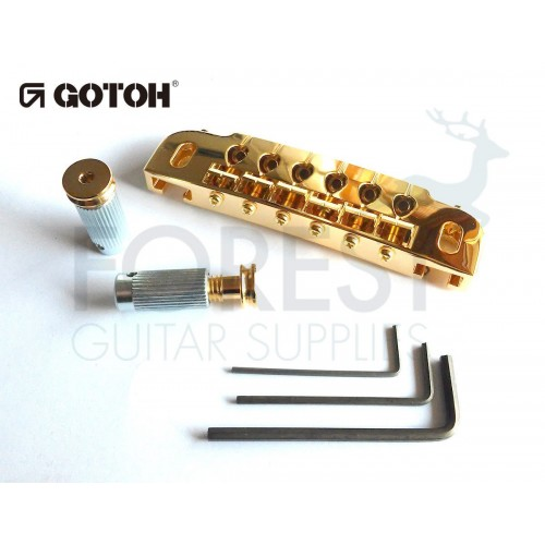 GOTOH guitar wraparound bridge 510UB, hard zinc saddle, gold510UB, hard zinc saddle, gold