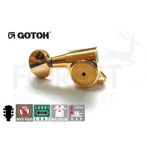 GOTOH SG381-05 HAPM 3L+3R guitar machine heads, Gold HAPM Magnum Lock