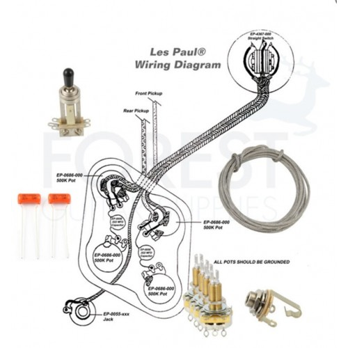Wiring kit for Gibson® Les Paul guitars® Switchcraft, CTS, + Sprage Orange drop Caps
