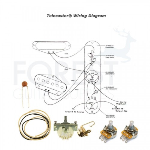 Wiring kit for Fender® Telecaster® guitars Switchcraft jack, CTS pots, CRL 3 way switch