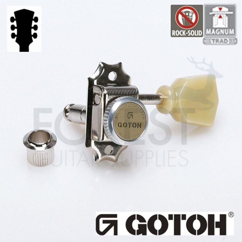 GOTOH SD90-SL MG-T 3L+3R guitar machine heads, Nickel, Magnum lock trad