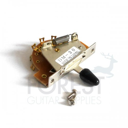 3 Way lever for ST and TL guitar switch, chrome with black tip