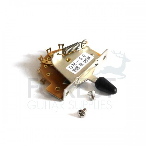 5 Way lever switch for ST style electric guitar, chrome - black tip
