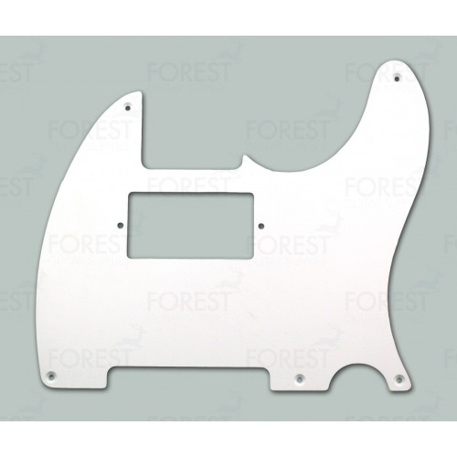 TL style guitar humbucker aftermarket pickguard, White 1 Ply, 5 screw holes