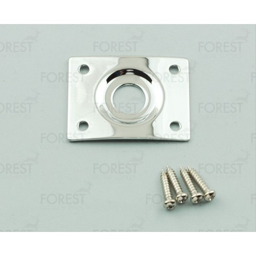 Guitar curved square jack plate HJ005, Chrome with screws