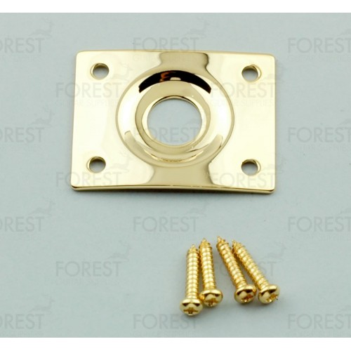 Guitar curved square jack plate HJ005, gold with screws