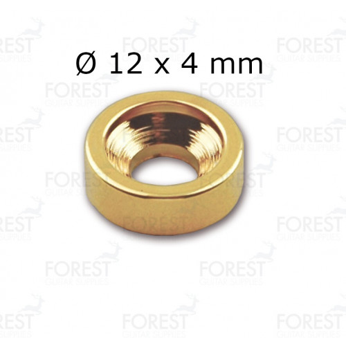 Guitar neck joint ferrule, bushing HB002, 12 x 4 mm, gold
