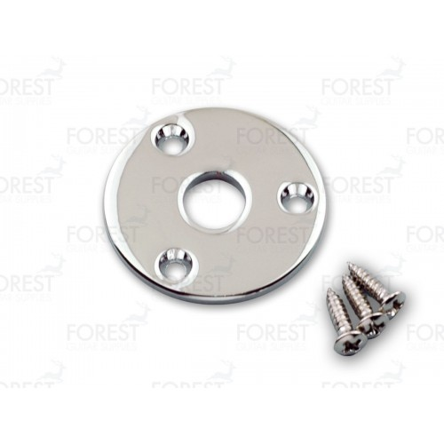Aftermarket Gibson Flyin' V ® round jack plate HJ008, Chrome with screws