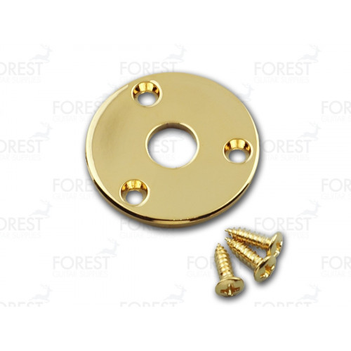 Aftermarket Gibson Flyin' V ® round jack plate HJ008, Gold with screws