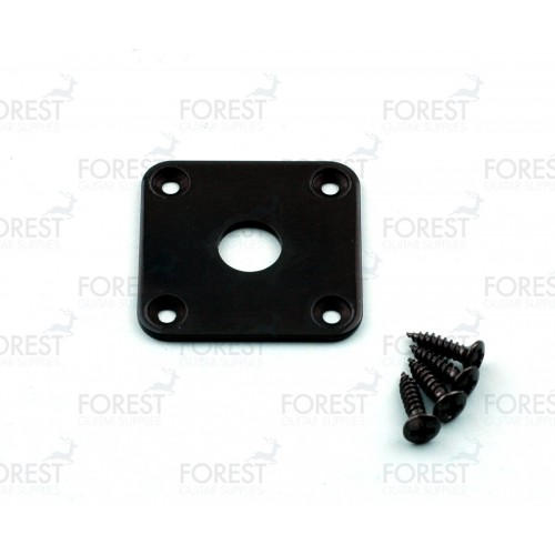 Gibson® aftermarket square flat jack plate, HJ015, Black with screws