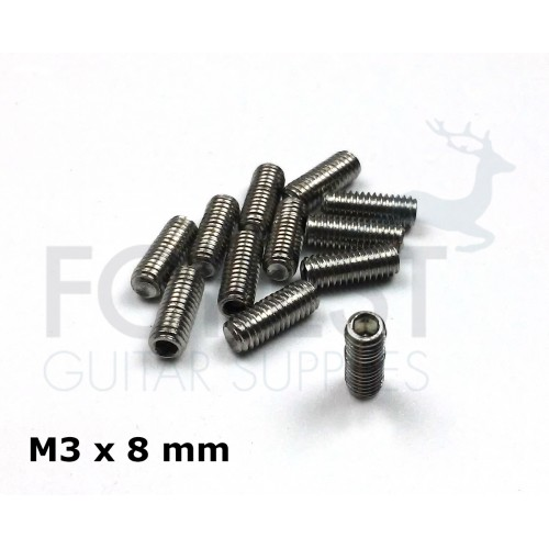 Guitar bridge saddle stainless steel screws set of 12, M3 x 8 mm, allen head