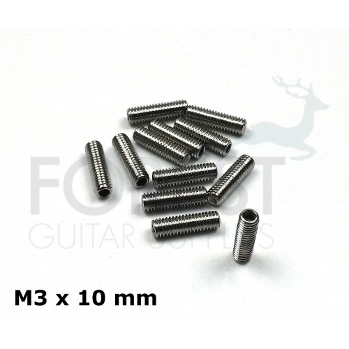 Guitar bridge saddle stainless steel screws set of 12, M3 x 10 mm, allen head