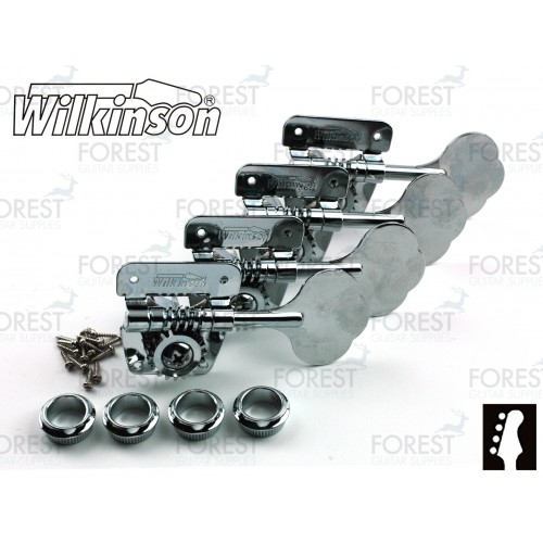 Wilkinson ® WJBL200 Bass guitar machine heads Fender ® Jazz or Precision bass vintage style, Chrome, 4 in line