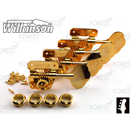 Wilkinson ® WJBL200 Bass guitar machine heads Fender ® Jazz or Precision bass vintage style, Gold, 4 in line