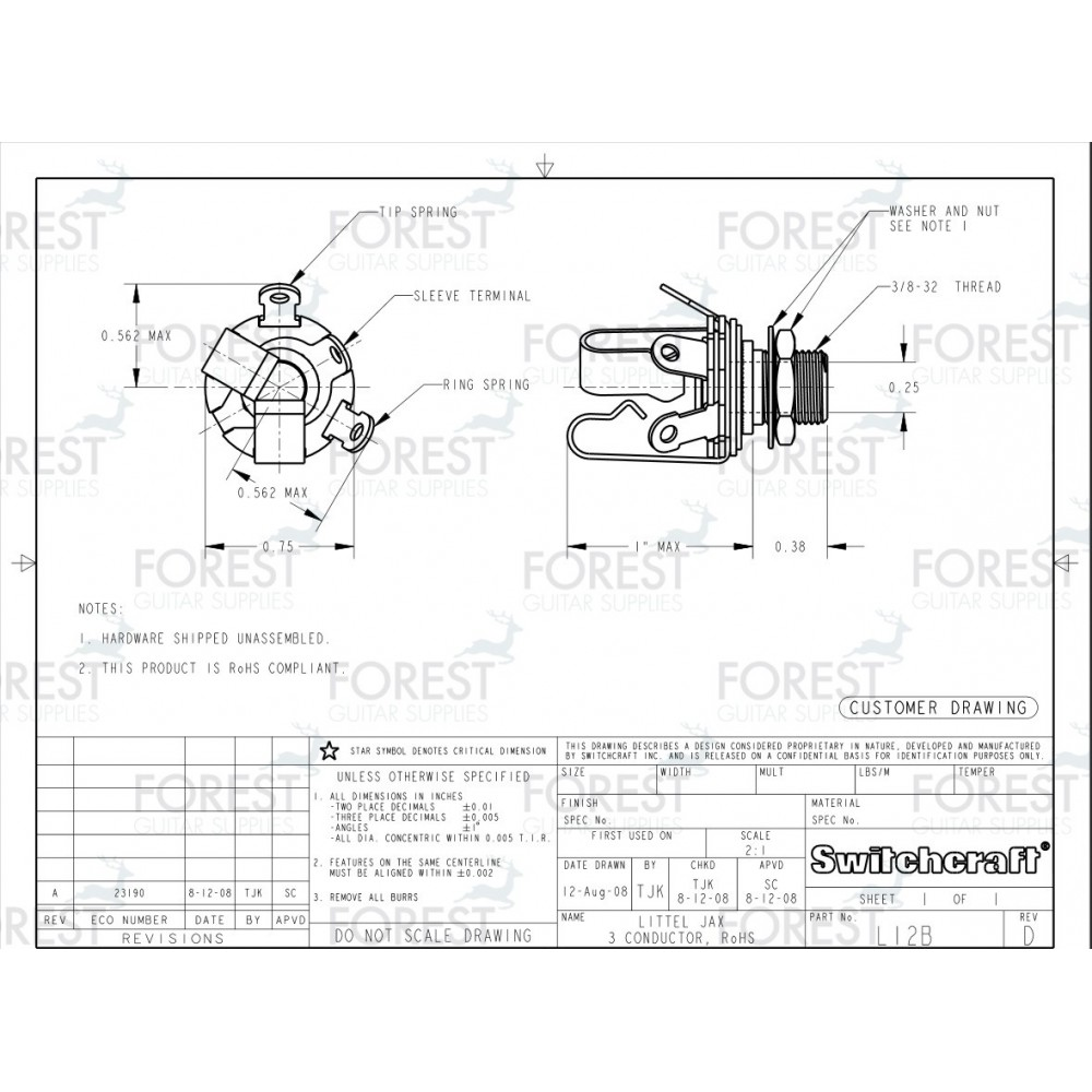 Switchcraft Scl12b Jack Stereo Input 1 4 Inch Extra Long Thread Wiring Diagram
