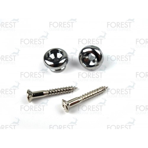Guitar strap pins pair, chrome finish HE007