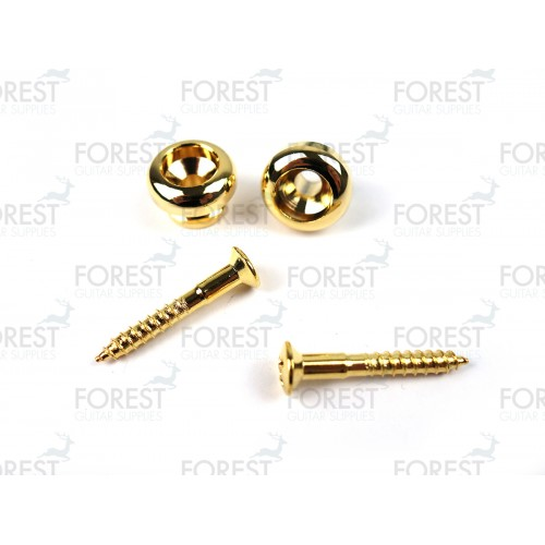 Guitar strap pins pair, gold finish HE007