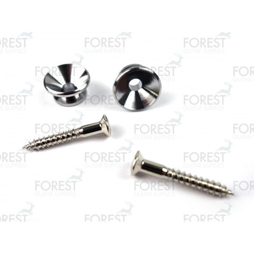 Guitar strap pins pair, chrome finish HE009