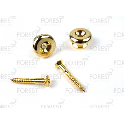 Bass guitar strap pins pair, gold finish HE014