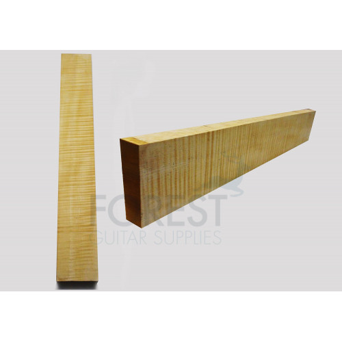 Guitar neck blank flamed / curly maple, grade 4A, plain sawn
