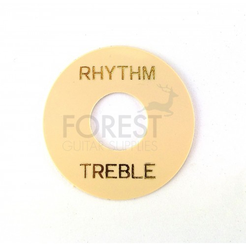 Gibson style toggle switch washer, Cream / Gold letters