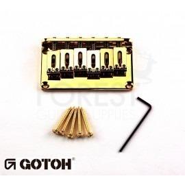 Gotoh Hardtail fixed bridge GTC102 Fender Tele or Strat ® style guitar, Steel saddle, gold
