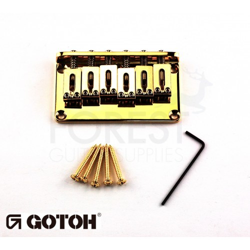 Gotoh Hardtail fixed bridge GTC102 for ST or TL style guitar, Steel saddle, gold