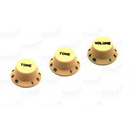 Fender Stratocaster ® aftermarket guitar knob set Ivory / black letters, 2 Tone 1 Volume