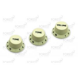 Fender Stratocaster ® aftermarket guitar knob set Mint green / black letters, 2 Tone 1 Volume
