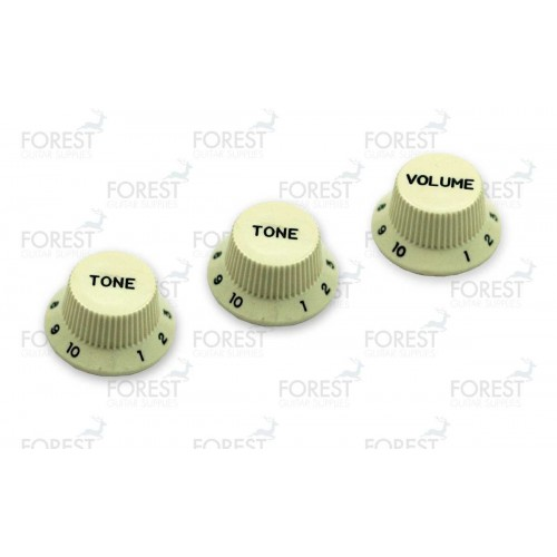 Fender Stratocaster aftermarket guitar knob set Mint green / black letters, 2 Tone 1 Volume