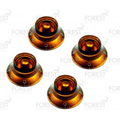Gibson bell style guitar knob 4 set gold / white letters, USA inch size