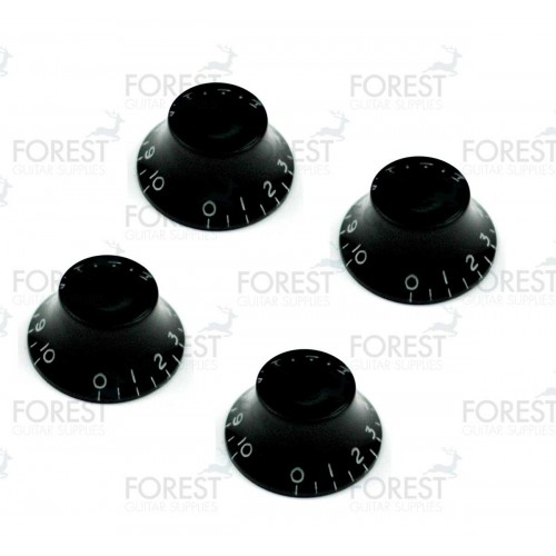 Gibson bell style guitar knob 4 set black / white letters, USA inch size