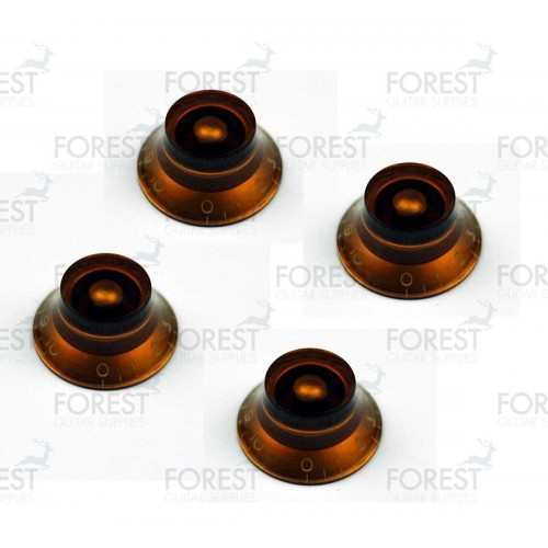 Gibson bell style guitar knob 4 set amber / white letters, USA inch size