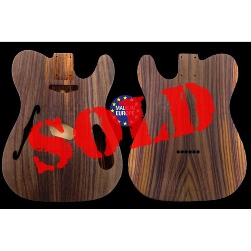 Tele Thinline style GEORGE HARRISON electric guitar body, Indian rosewood, unique stock