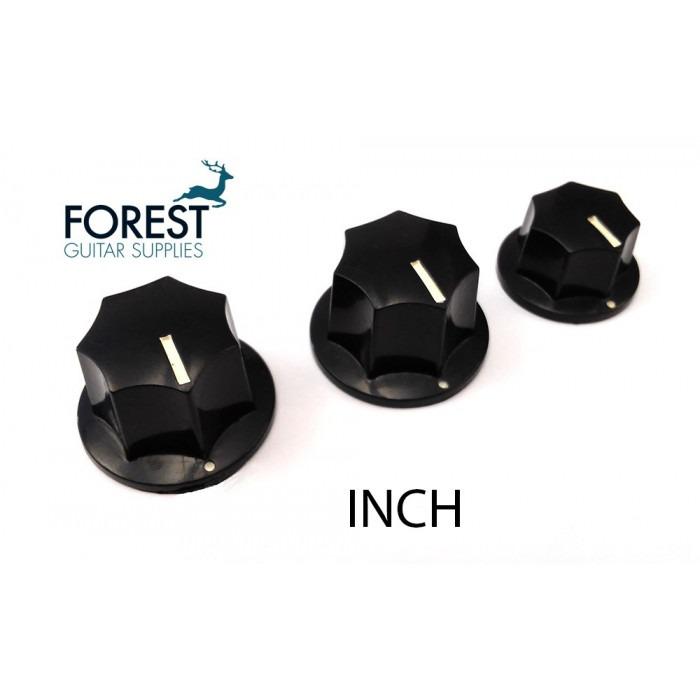 Black Set of 3 Jazz Bass Knobs for Split Shaft Pots Imperial