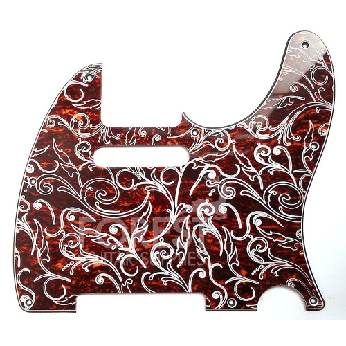 Telecaster style Pickguard, Tortoise shell 3 Ply (T/W/B) Vintage floral engraved