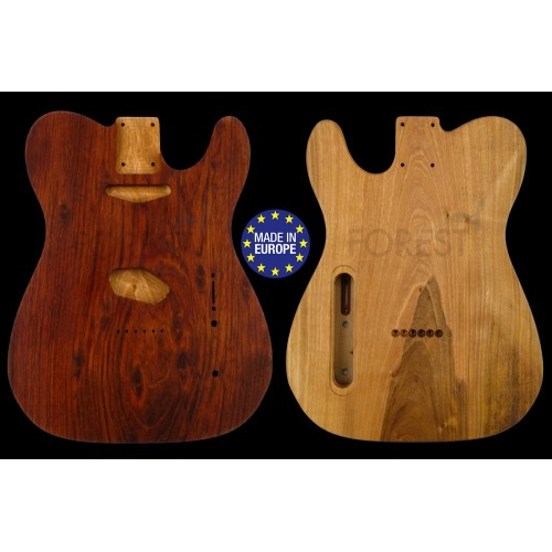 Telecaster ® Rear routed Body Electric guitar 1 piece Merbau top / Spanish Walnut, unique