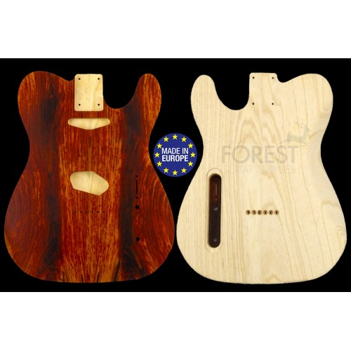 TL rear routed style electric guitar body figured Cocobolo top / Swamp ash, unique