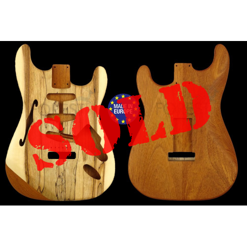 Strato Thinline style electric guitar body Honduras Mahogany - Spalted Maple top