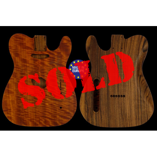 Tele rear routed style electric guitar body highly book matched flamed Makore top / Spanish Walnut, unique