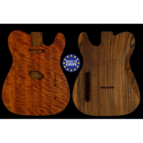 Telecaster ® Rear routed Body Electric guitar highly book matched flamed Makore top / Spanish Walnut, unique