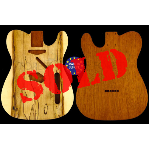 Tele 50s style electric guitar body book matched Spalted Maple top / Honduras Mahogany, unique