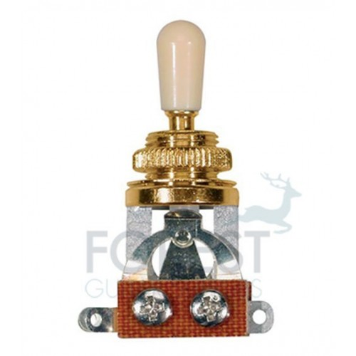 3 Way Toggle Switch Gibson LP style, gold with Ivory tip