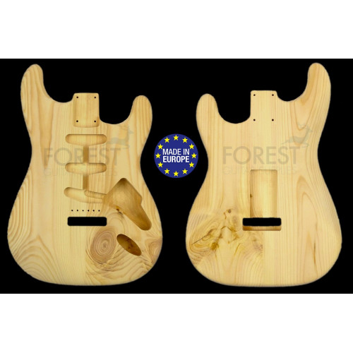 Strato 60s style electric guitar body 2 pieces Knotty Pine unique