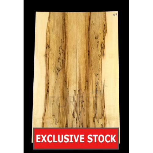 Guitar top bookmatched Spalted maple 5A grade, unique stock 423