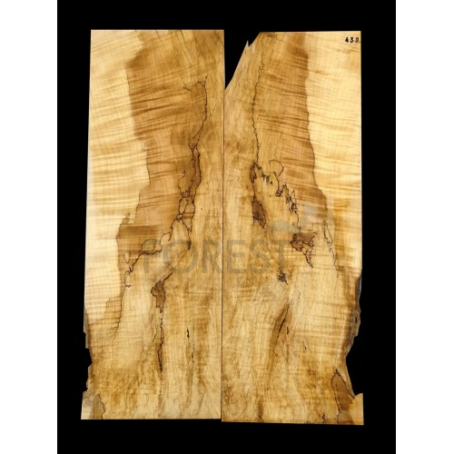 Guitar top bookmatched Spalted maple 5A grade, unique stock 432