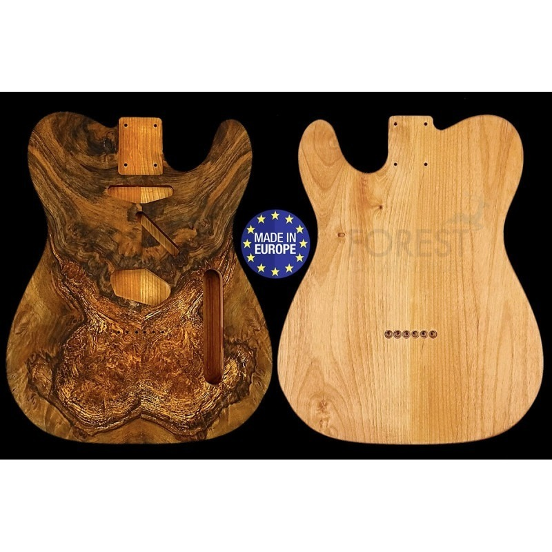 TL 50s style electric guitar body book matched figured Spanish Walnut / American Alder, unique