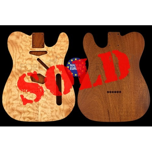 Tele 50s style electric guitar body book matched Quilted Maple top / Honduras Mahogany, unique